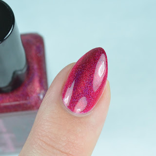 red holographic nail polish