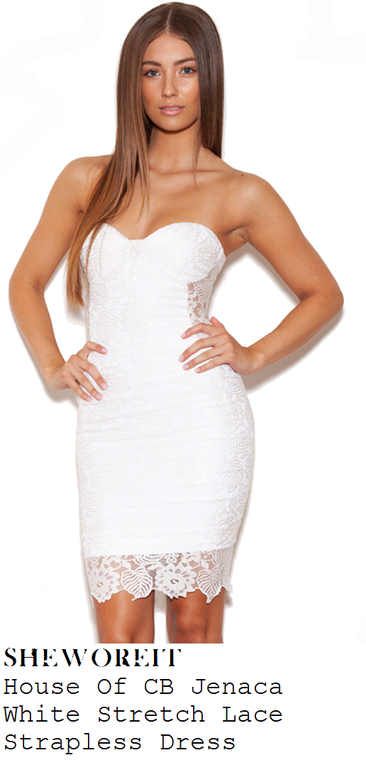 jessica-wright-white-floral-lace-strapless-knee-length-bodycon-dress