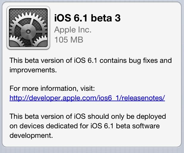 Download iOS 6.1 Beta 3 For iPhone, iPod Touch & iPad [ For Developer ]
