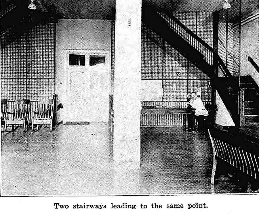 """""""Two stairways leading to the same point""""  a 1921 mental asylum photograph"""
