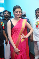 Kajal Aggarwal in Red Saree Sleeveless Black Blouse Choli at Santosham awards 2017 curtain raiser press meet 02.08.2017 005.JPG