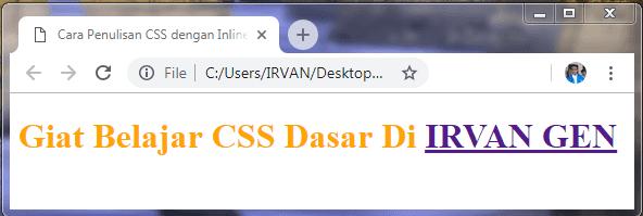 Contoh Inline Style CSS - #IRVANGEN