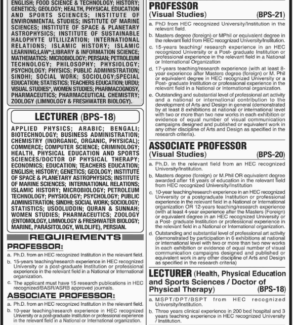 Advertisement for University of Karachi Jobs