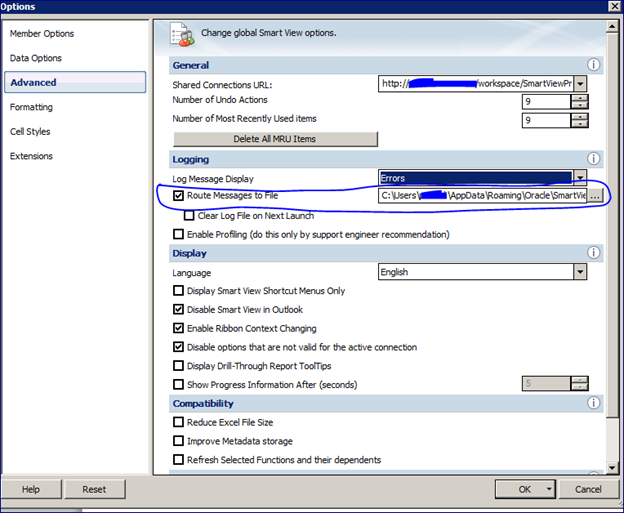 How to see Hyperion smartview error logs in user system? | World of EPM