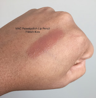 MAC Patentpolish lip pencil in french kiss swatched
