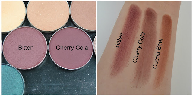 Swatch, Makeup Geek, Bitten, Cherry Cola, Cocoa Bear, Swatches