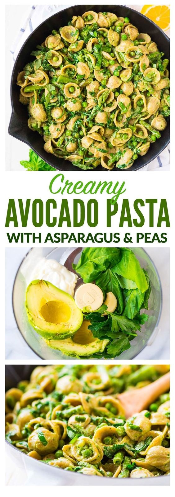 Avocado Pasta with Asparagus and Peas