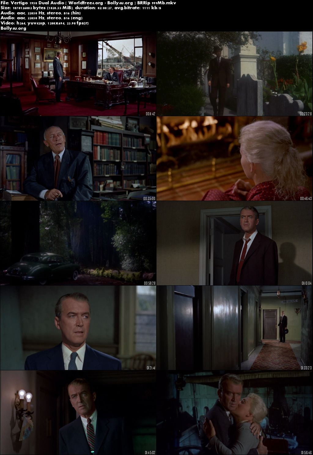 Vertigo 1958 BluRay 999Mb Hindi 720p Dual Audio Download