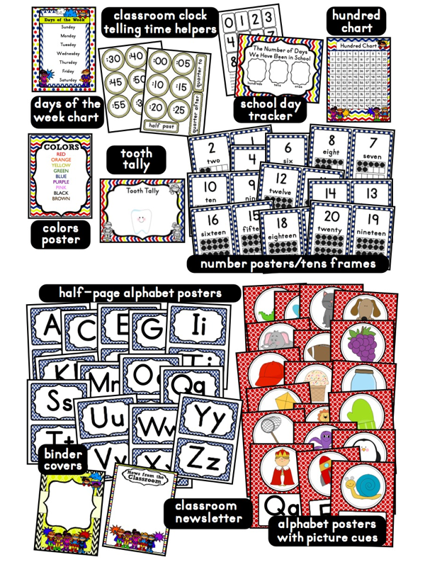 Superhero Classroom Decor Printables : Superheroes superkids themed classrooms clutter free