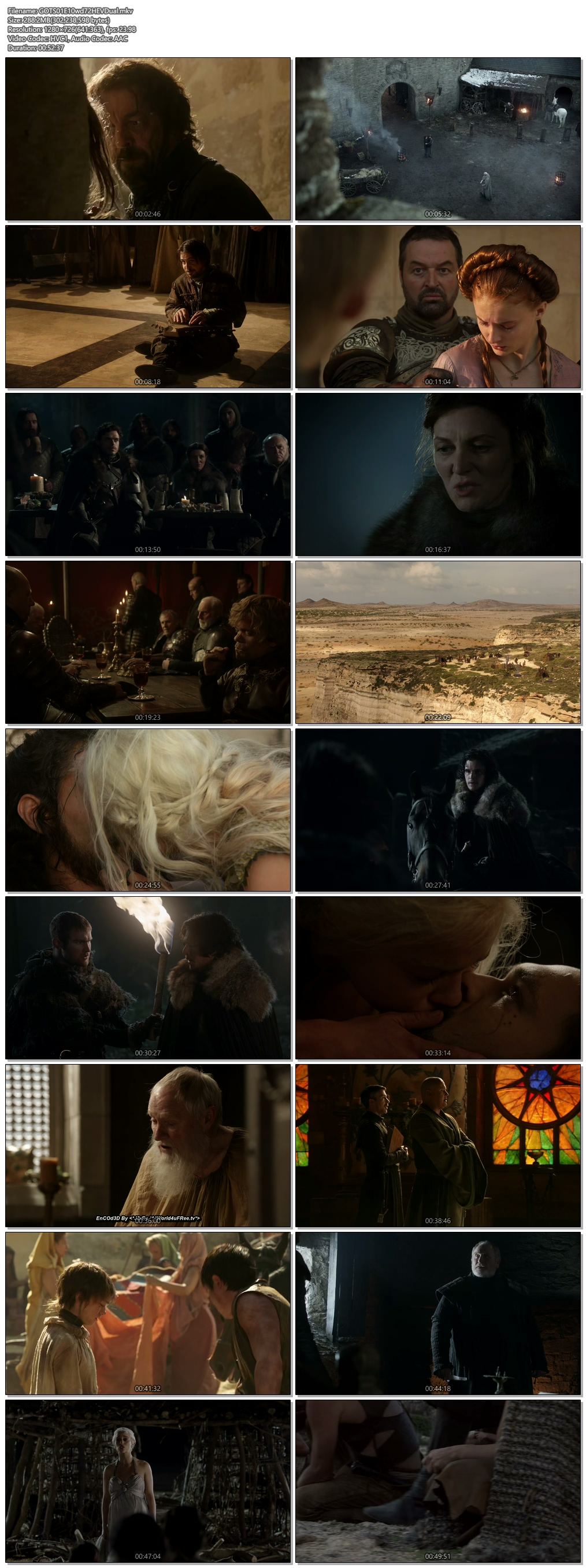 Screenshots Of Hindi Dubbed Show Game Of Thrones 2011 Season 01 Episode 10 300MB 720P HD