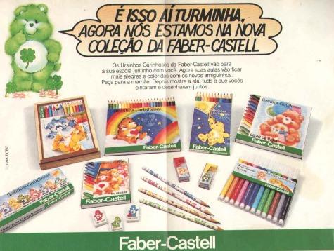 Propaganda da Faber Castell em 1986. Coleção de lápis, lapiseiras e giz de cor.