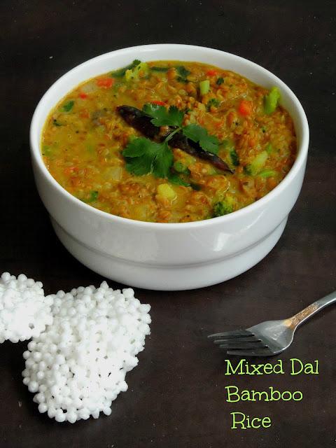 Mixed Dal Bamboo Rice,Kadhamba Moongil Sadham