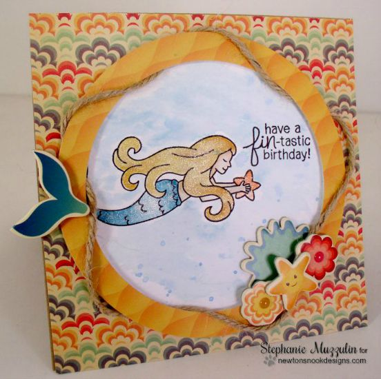 Mermaid Birthday card by Stephanie Muzzulin | Mermaid Crossing Stamp Set by Newton's Nook Designs #mermaid #newtonsnook