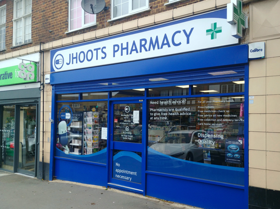 hoots Pharmacy, Bradmore Green, Brookmans Park Image by North Mymms News released under Creative Commons BY-NC-SA 4.0