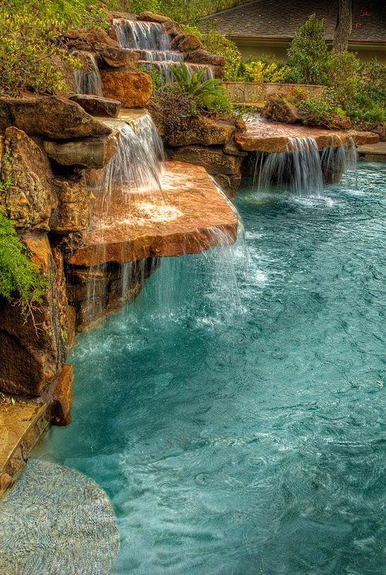 Falls awesome backyard waterfall pool | Backyards Click
