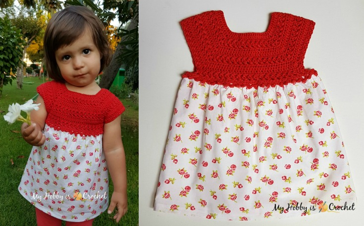 Crochet & Fabric Toddler Dress Elisa -  Free Pattern