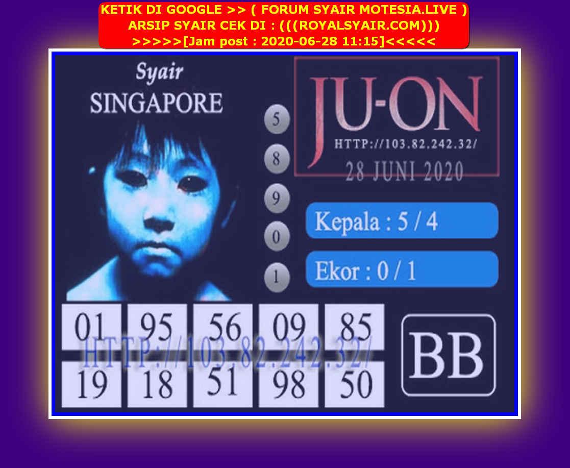 Kode syair Singapore Minggu 28 Juni 2020 107