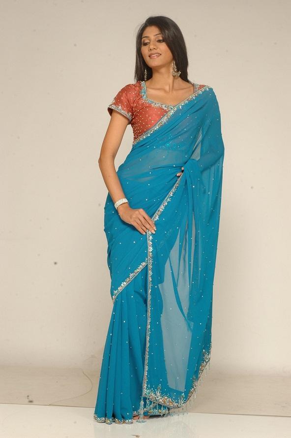 33011b11d9b64e WORLD CITY FASHION  Blue Saree Orange Blouse Party Dress for Cute ...