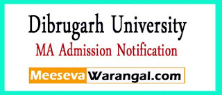 Dibrugarh University MA 2nd 4th Sem 2017 Admission Notification