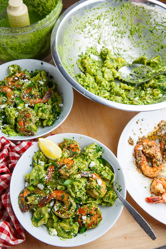 Spinach Pesto, Feta and Shrimp Tortellini