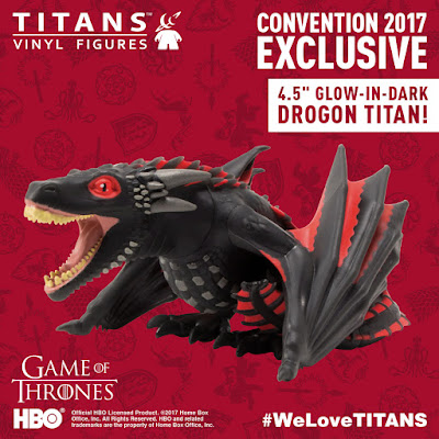 "San Diego Comic-Con 2017 Exclusive Game of Thrones Titans 4.5"" Vinyl Figures by Titan Entertainment - Glow in the Dark Drogon"