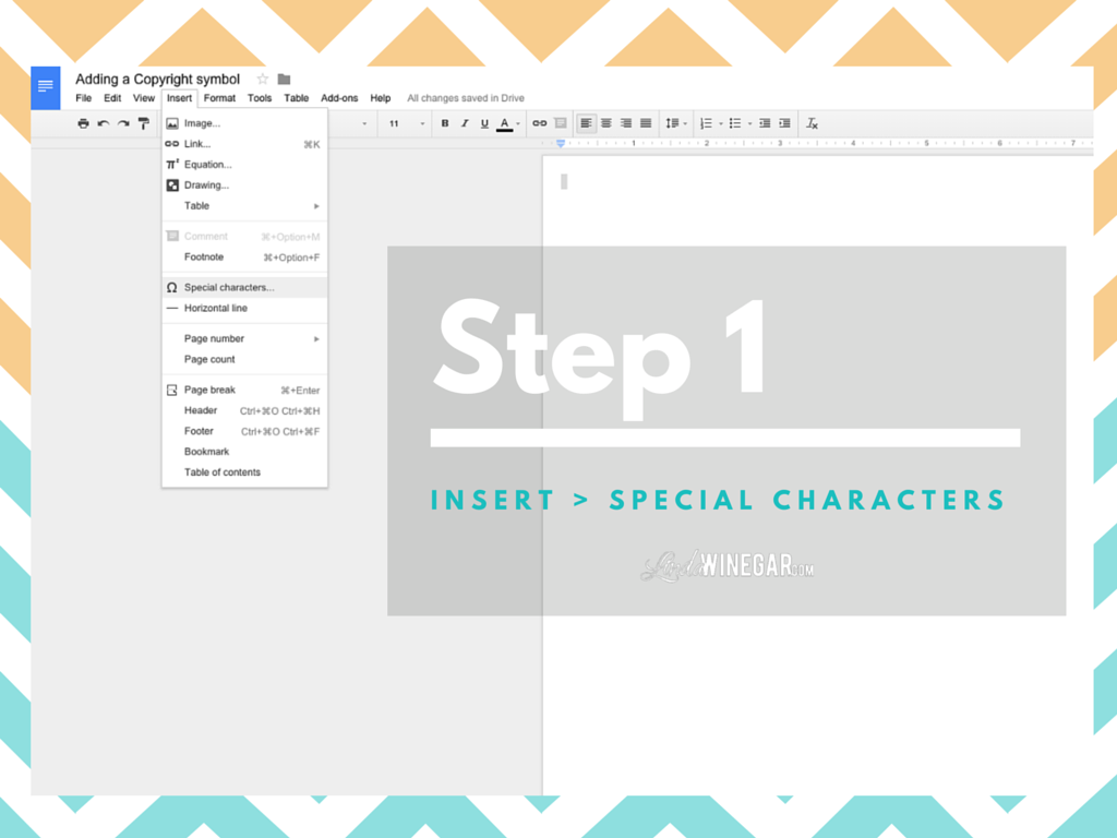 Adding a copyright symbol on google docs linda winegar step 1 have your google doc open go to the menu bar at the top left select insert special characters biocorpaavc Image collections