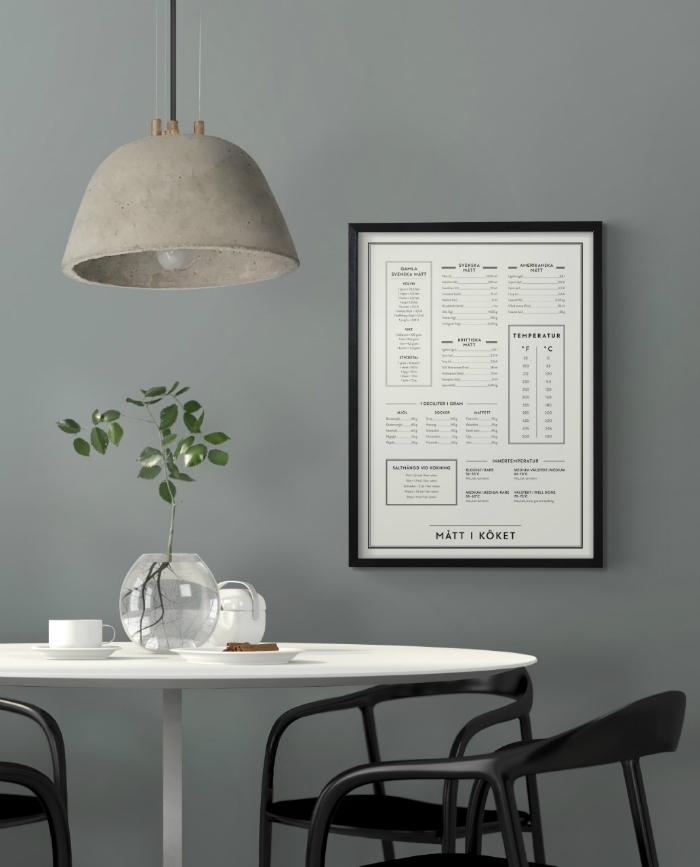 mått i köket, tavla, tavlor, kök, kökstavla, mått, måttenheter, inredning, dekoration, poster, kunskapstavlan, symboler, webbutik, webbutiker, webshop, inredningsbutik, varberg,