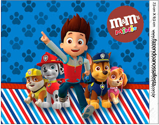 Etiqueta M&M  para Imprimir Gratis de Paw Patrol.