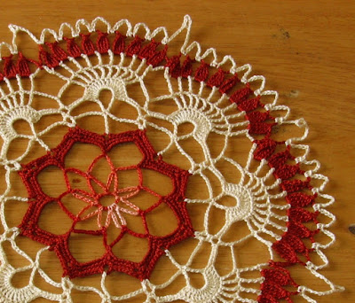 Copper Brown and Cream Doily - with Metallic Accents - Handmade By RSS Designs In Fiber