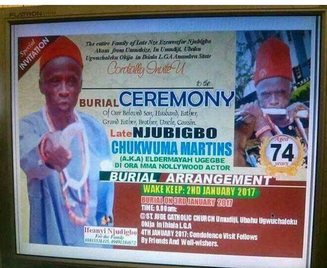 Nollywood veteran Elder Maya to be buried on 3rd January