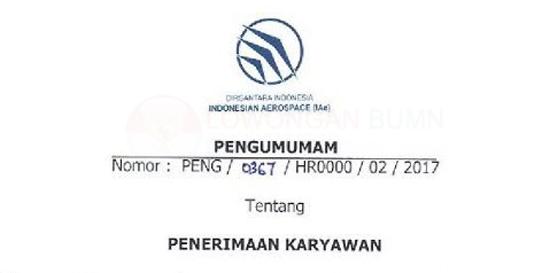 Pengumuman Penerimaan Karyawan PT. Dirgantara Indonesia Tahun 2017