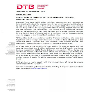 Dtb press release on new interest rate on new and existing loans