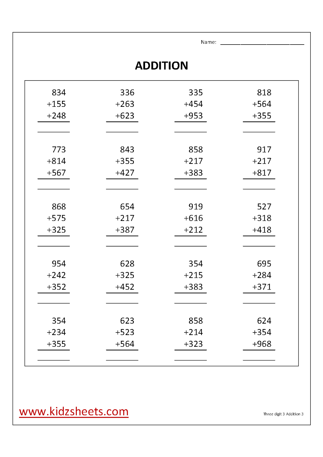 Kidz Worksheets Third Grade Three Digit 3 Number Addition