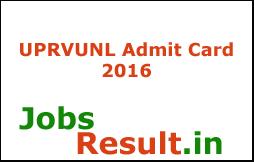 UPRVUNL Admit Card 2016