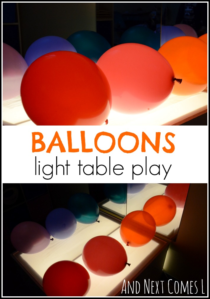 A fun and engaging light table activity for kids using balloons from And Next Comes L