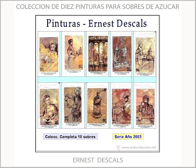 PINTURAS-SOBRES-AZUCAR-COLECCION-ARTISTA-PINTOR-ERNEST DESCALS-CAFES DEL BAGES