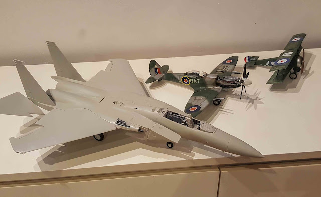 scale model 1/32 fighters: F15 compared to Spitfire compared to Sopwith Camel
