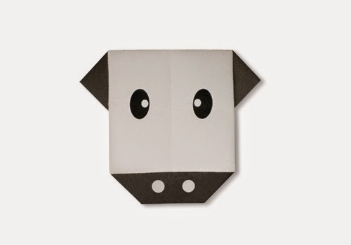 Origami Tutorials - How to make a face of Cow with Video tip