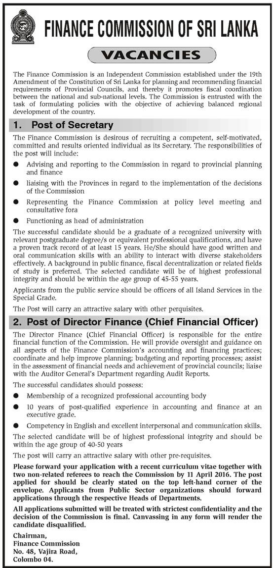 Vacancies - Secretary, Director Finance (Chief Financial Officer) - Finance Commission of Sri Lanka
