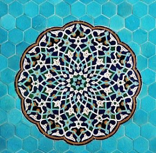 Detail of one of many tiled walls of the Jameh Mosque, Yazd, Iran.