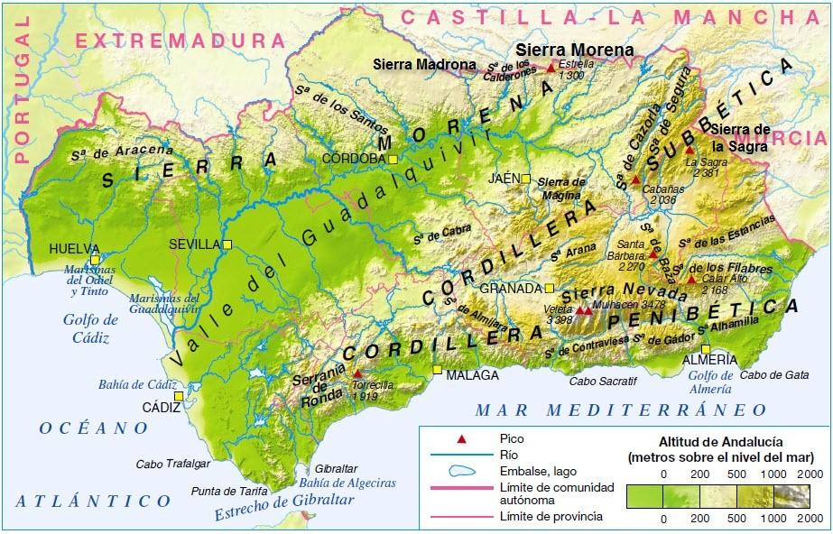 Sistemas Beticos Mapa Fisico.Blog De Geografia Profesor Pedro Ona Las Cordilleras Beticas