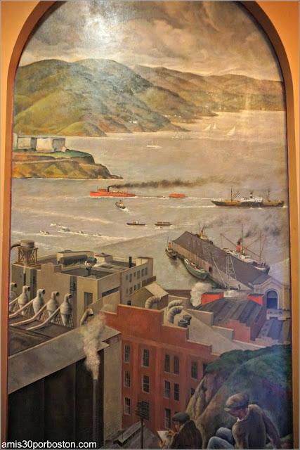 """Mural """"Bay Scene"""" de José Moya del Pino en la Torre Coit de San Francisco"""