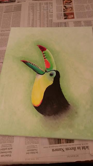 Zeichnung Tucan aus Acrylfarbe
