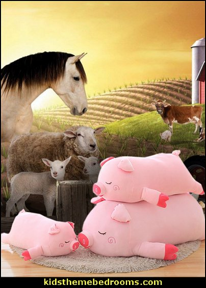 pig pillows - soft cushion  Farm theme bedroom decorating ideas - horse theme bedroom decorating ideas - girls horse theme bedrooms - farm animals decor - Country themed bedroom - John Deere decor - John Deere bed - John Deere wall decals - Barnyard Bedroom Theme - Farm themed wall decals - farm animals kids wall decor - tractor beds