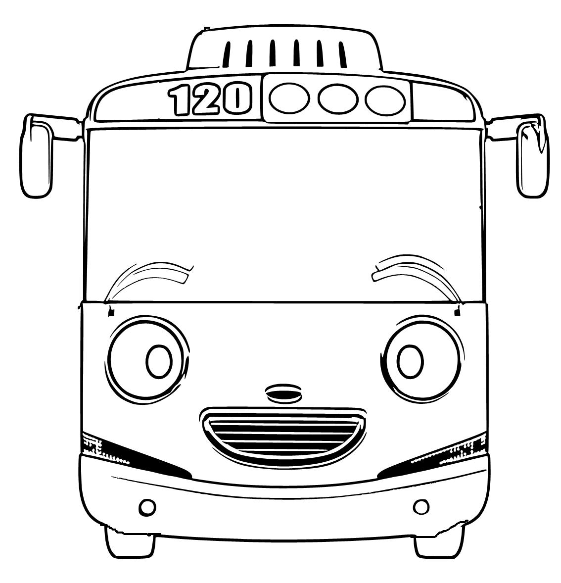 Mewarnai Gambar Bus Tayo Lucu Aneka Mewarnai