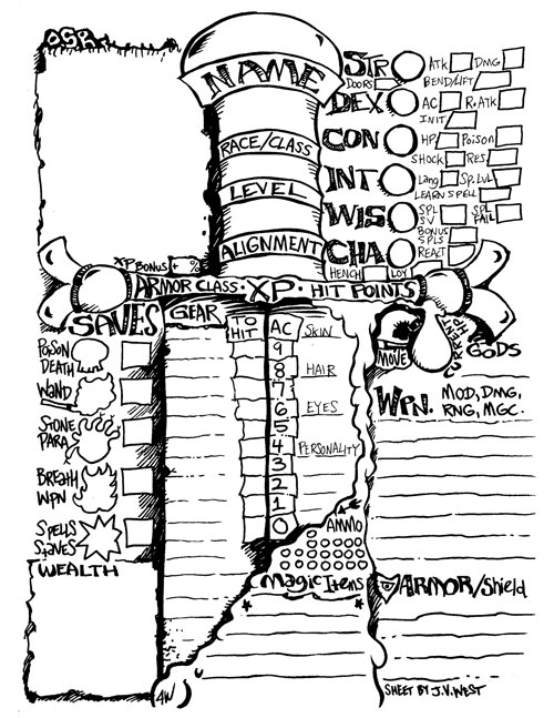 Doomslakers!: Another OSR Character Sheet