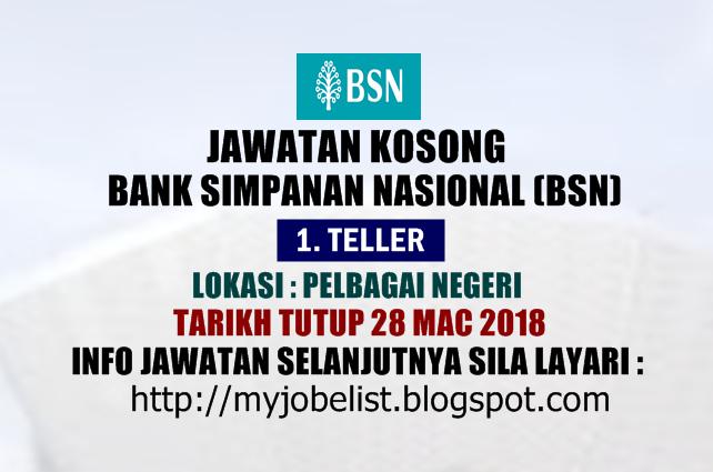 Jawatan Kosong di Bank Simpanan Nasional Mac 2018