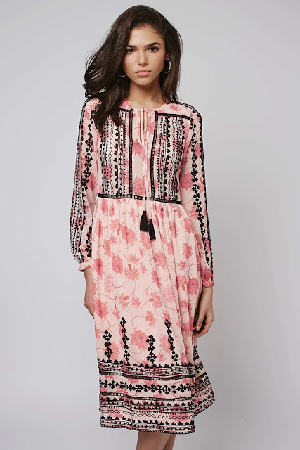 pink embroidered long sleeve dress, smock dress pink, topshop pink black embroidered dress,