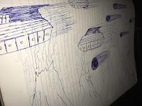 Foto de um desenho que meu pai fez num caderno dele de 8ª série, com naves, vulcões e meteoros.