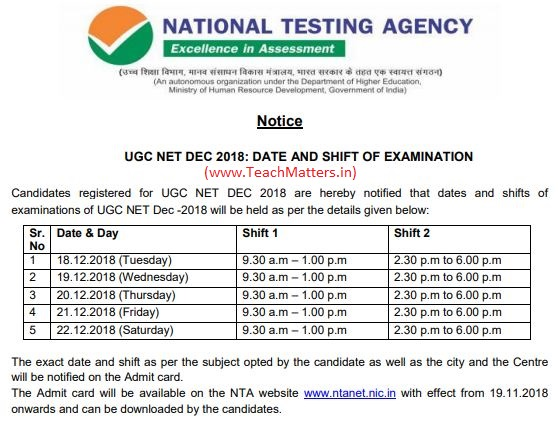 image : NTA UGC NET DEC 2018 Exam Date & Schedule @ TeachMatters